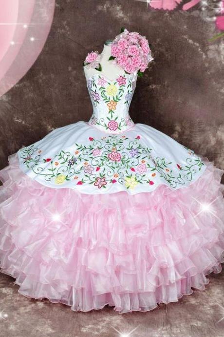 Multi Color Embroidery Ball Gown Ruffles Organza Quinceanera Dress