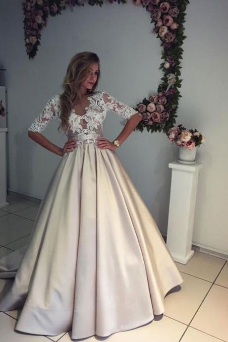 Half Sleeve Satin Skirt Lace Bodice Modern Bride Wedding Dress Formal Occasion Dress