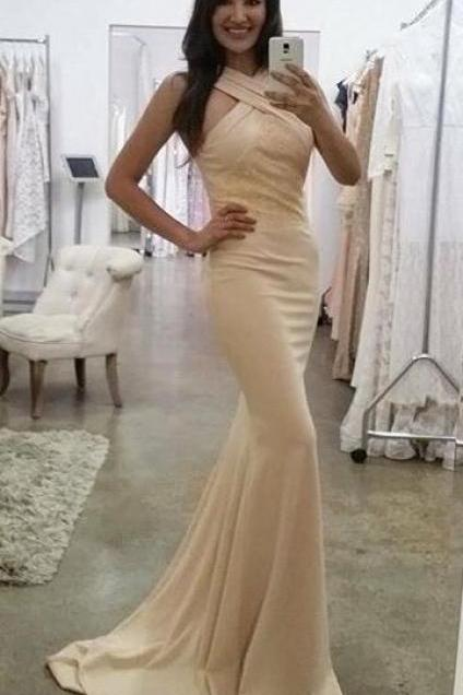 Halter Party gowns with pleats,satin dresses for women,mermaid prom dresses,simple long prom dress,Cheap Prom Dress