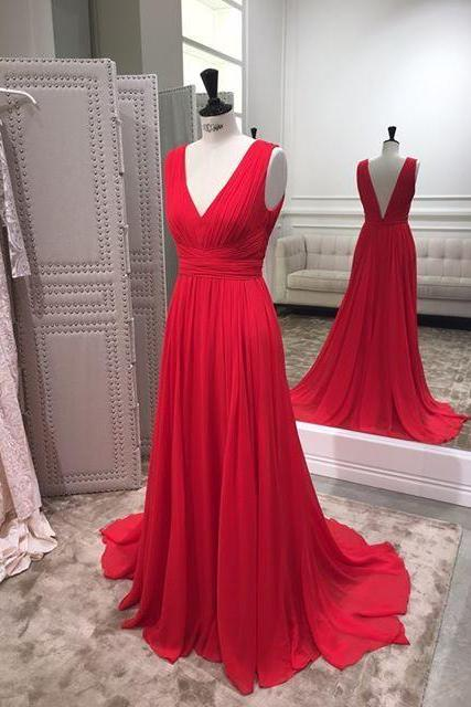 Women's Long Chiffon Red Prom Dress V Neck Women Party Dress Backless