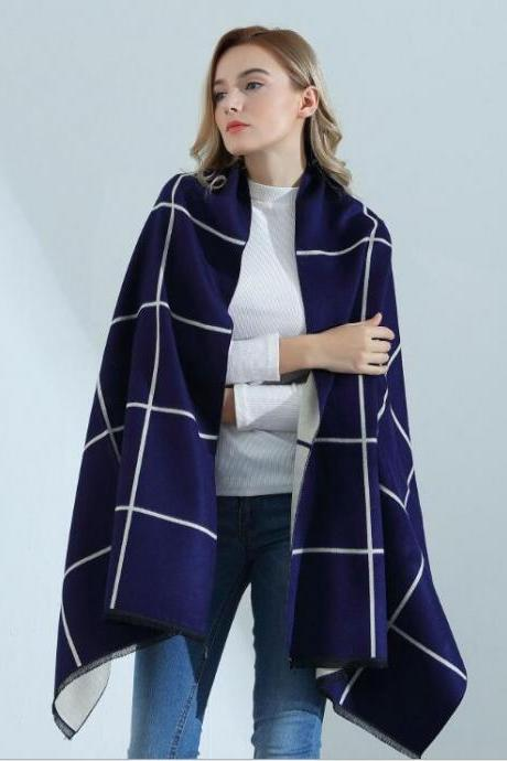 Fashion Grid Womens Scarves Pareo Wraps Soft Warm Spring Autumn Cashmere Scarf Blankets Shawls Cloaks Ivory and Navy