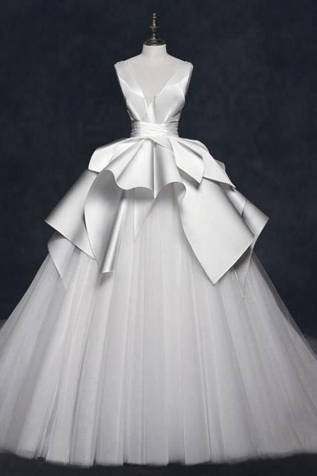 Luxury Satin Tulle Ball Gown Long Wedding Dress Bridal Gowns White