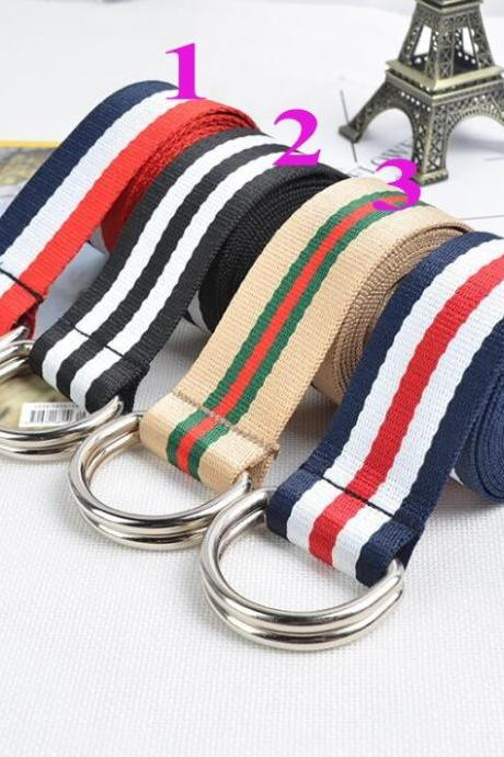 Fashion Unisex Striped Plain Webbing Men Waist Belt Waistband Casual Canvas Belt Alloy Circle Thin Strap