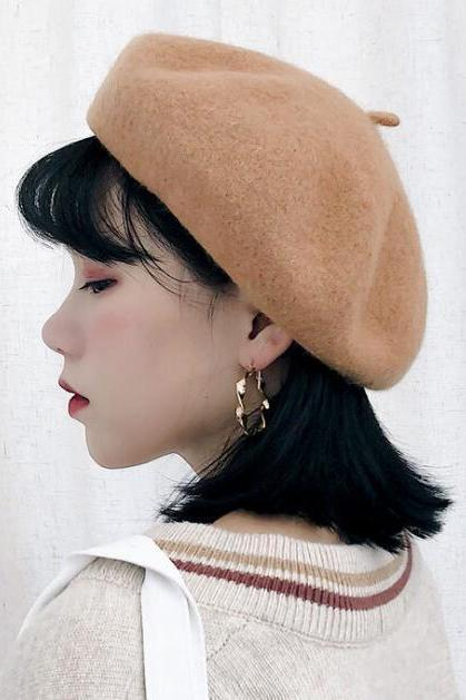 2018 High Quality Women Elegant Beret Winter Warm Female British Style Lady Painter Bonnet Hats Solid Color black/khaki/wine red/gray/pink beret