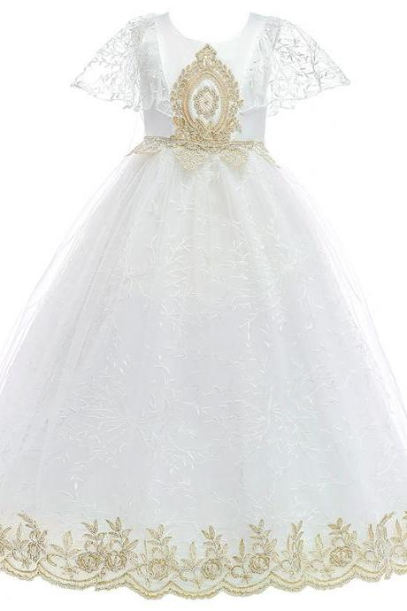 Lace Flower Girl Dresses Floor Length Girls Pageant Dresses First Communion Dresses Wedding Party Dress Child Dress