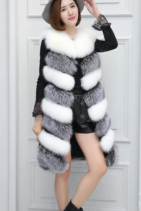 Faux Fur Fashion Mixed Colors Womens' Winter Warm Vest X-Long Coat Jacket Outwear Waistcoat Gielt