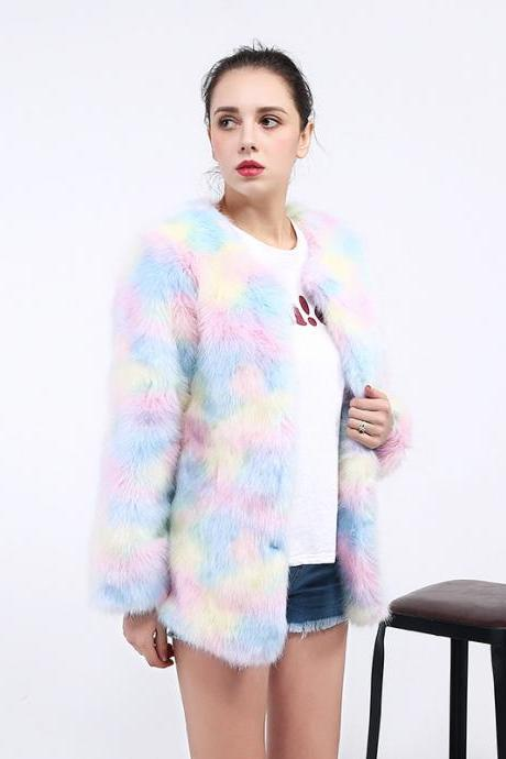 Rainbow Fluffy faux fur coat women Warm long sleeve 2018 female outerwear autumn winter colorful jacket hairy overcoat