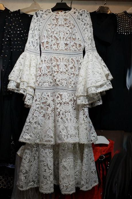 Trumpet long sleeves elegant layered white fashion lace women summer dress party dress