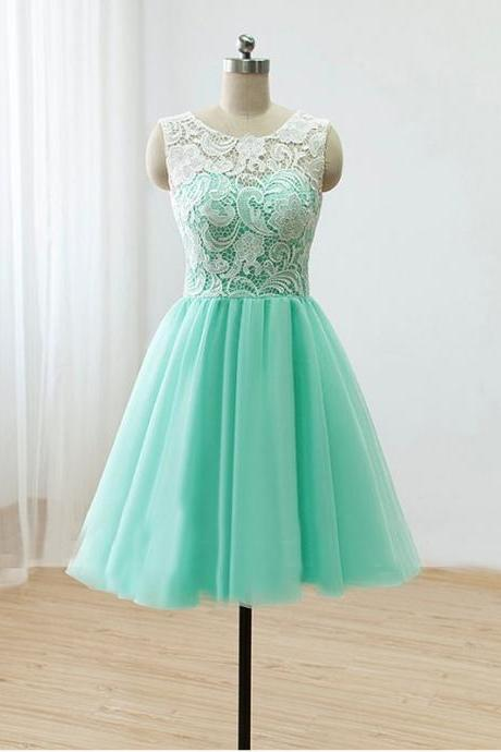 Elegant Scoop Nature Waist A-line Tulle Mint Green Short Prom Dresses Homecoming Dresses Lace bridesmaid dresses Custom Wedding Party Dress