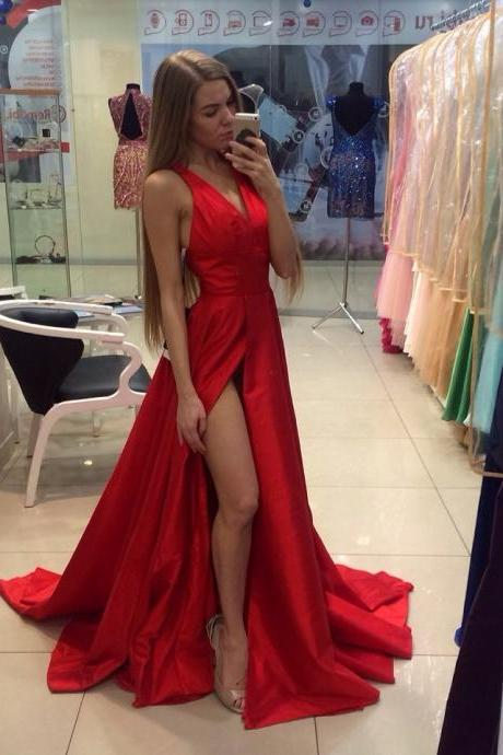 2016 New Arrival Red Sexy Prom Dresses Simple A Line V Neck Side Slit Evening Gowns Taffeta Party Dresses Long Prom Dresses