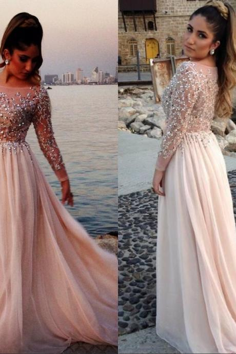 Long Chiffon Evening Dresses 2016 Full Sleeve A-Line Sequins Rhinestone Princess Dubai Abaya Party Dress Prom Gowns