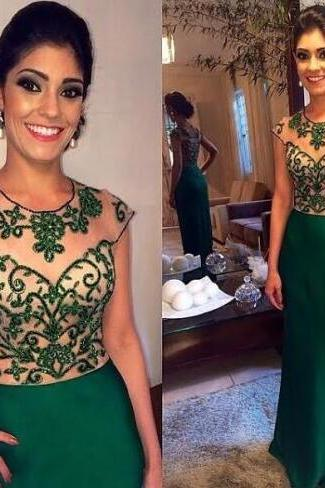 2016 New Formal Party Dresses Jewel Beading See Through Cap Sleeve vestido de festa Sheath Satin Long Emerald Green Evening Dress Prom Gowns
