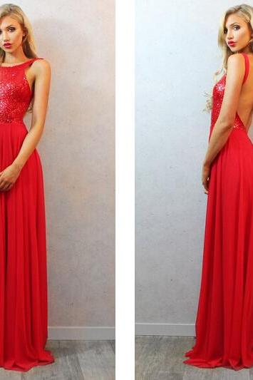 2016 New Sexy Backless Red Long Chiffon Prom Dresses A Line Sequins Evening Party Dresses Custom Made Formal Prom Gowns