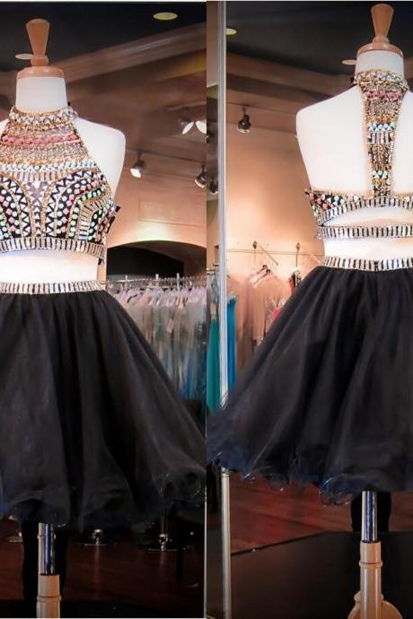 Colorful Crystals Sequins Beads Black Prom Dresses Two Pieces Party Dresses High Neck Short Homecoming Dresses Custom Made Graduation Gowns