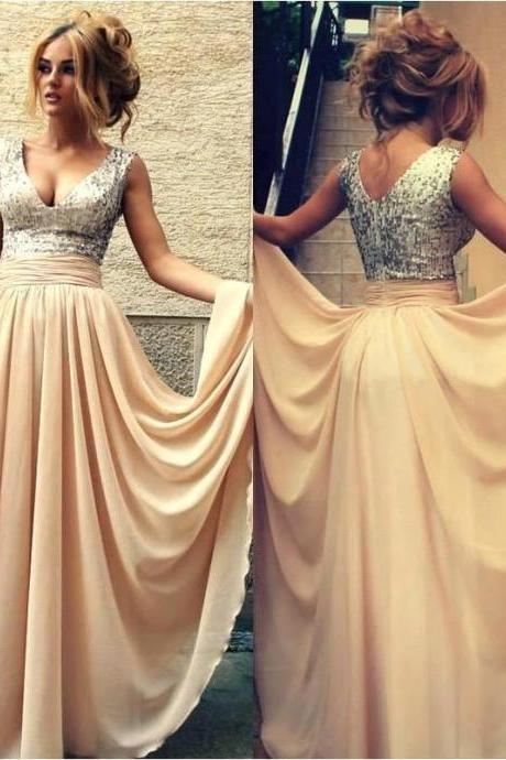 Champagne Sequin Long Formal Party Dresses A Line V Neck Long Chiffon Prom Dresses Custom Made Cheap Evening Gowns