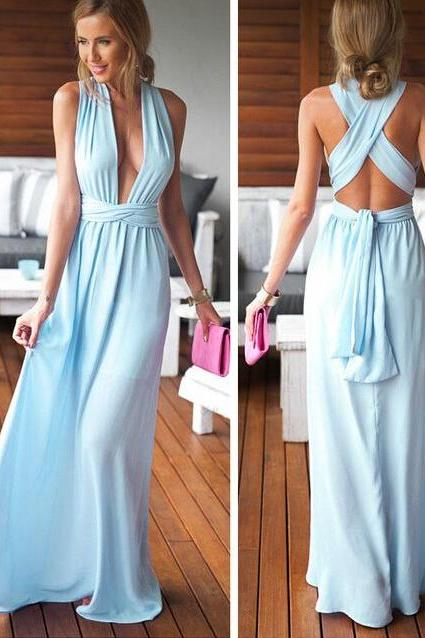 Light Blue sexy Prom Dresses A line V neck backless Long Chiffon Party Dress Girls Graduation Dresses 2016 Simple Dresses Evening Gowns