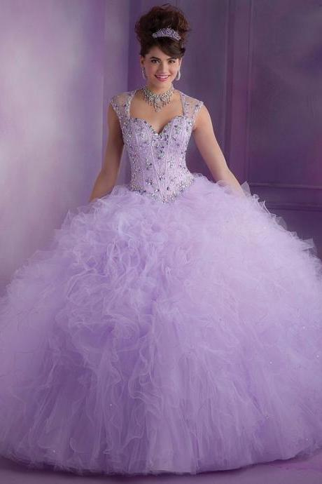 Tulle Ruffled Sheer Back Luxury Beaded Prom Gown Lilac Ball Gown Quinceanera Dress 2016 Vestido