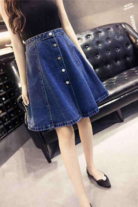 A Line Knee Length Denim Skirt Women Summer Skirt