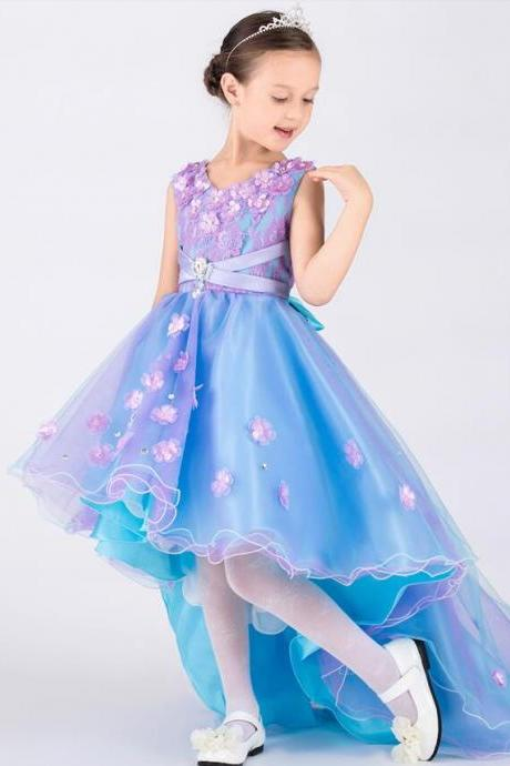 Purple and Blue Beautiful Girls Dresses A LineLong Front Short Back Lace Tulle Satin Flower Girl Dresses Little Girls Pageant Dresses With 3D Flowers