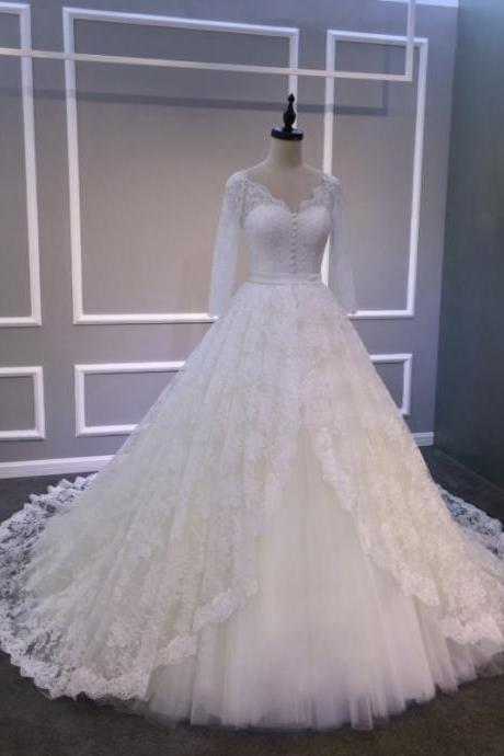 Ball Gowns Ivory Long Lace Tulle Wedding Dresses,V Neck Long Sleeve Bridal Gowns,Cheap Wedding Dress,Custom Bridal Dress