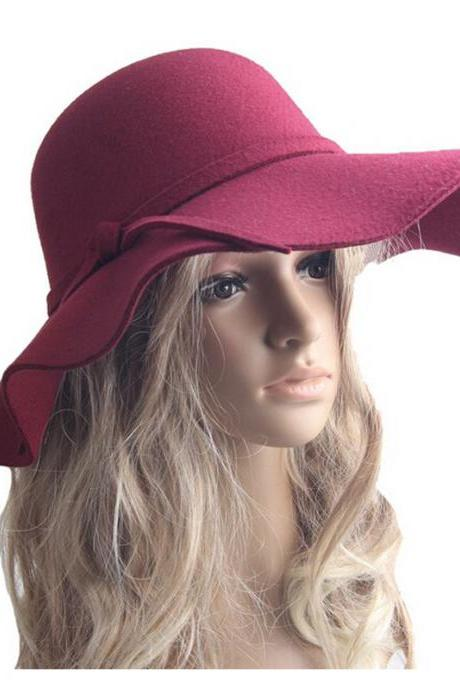 Autumn Winter Hats For Women Lady With Wide Brim Wool Felt Bowler Fedora Hat Floppy Cloche Sun Beach Bowknot Cap Wine Red
