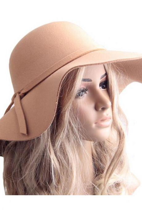 Spring Autumn Winter Wool Felt Beach Wide Brim Ladies Floppy Hat Bowler Derby Cloche Cap Camel Color