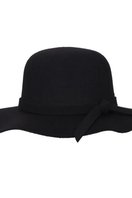 Spring Autumn Winter Vintage Hats Wool Felt Beach Wide Brim Ladies Floppy Hat Bowler Derby Cloche Cap Women Hat Black