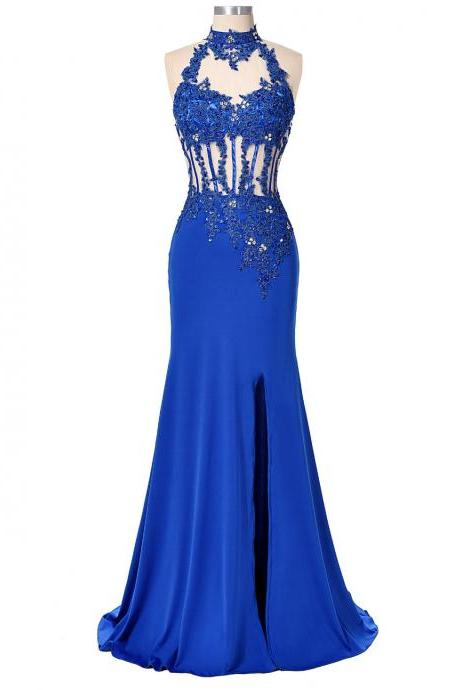 Sexy Backless Women Party Dress Evening Long Sequin Mermaid Prom Dresses Sleeve Polyester Royal Blue Bandage Dress