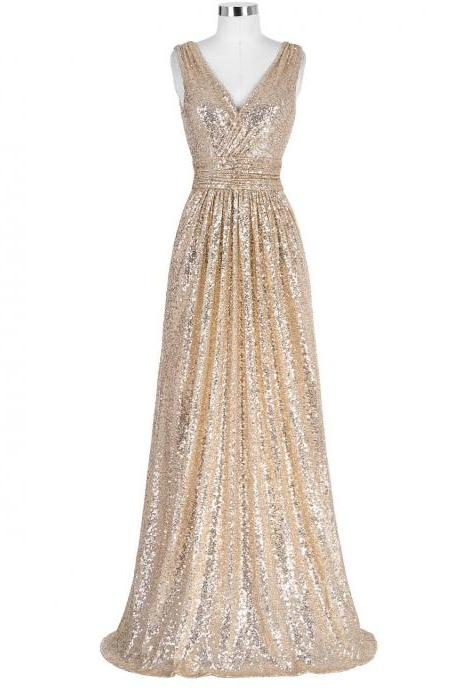 Gold Prom Dresses Sexy V Neck Special Occasion Dresses Long Sequin Prom Dress
