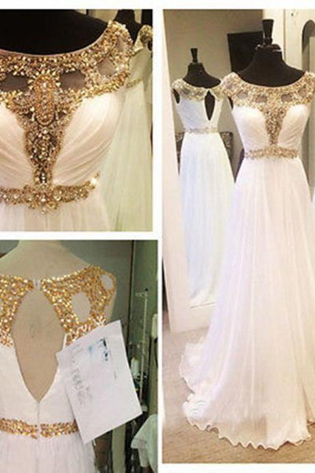 Sexy White Beaded Long Prom Party Evening Formal Gowns Pageant Dresses Custom Prom Dress