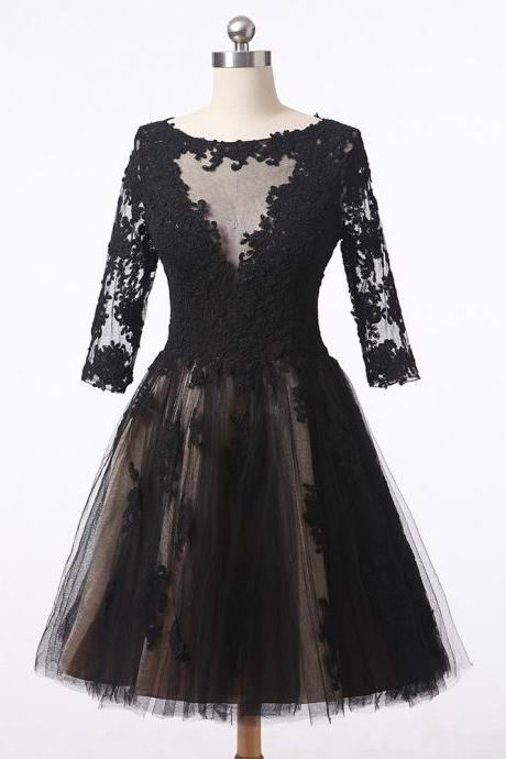 2016 Black Scoop Neck Homecoming Dress Half Sleeves Knee Length Zip Back Graduation Prom Dress Lace Appliques Women Formal Party Gowns
