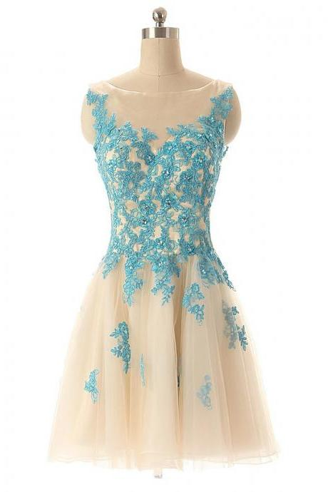 Boat Neck Champagne Tulle Prom Party Dress with Blue Lace, Sleeveless Short Homecoming Dress,8th Graduation Dresses