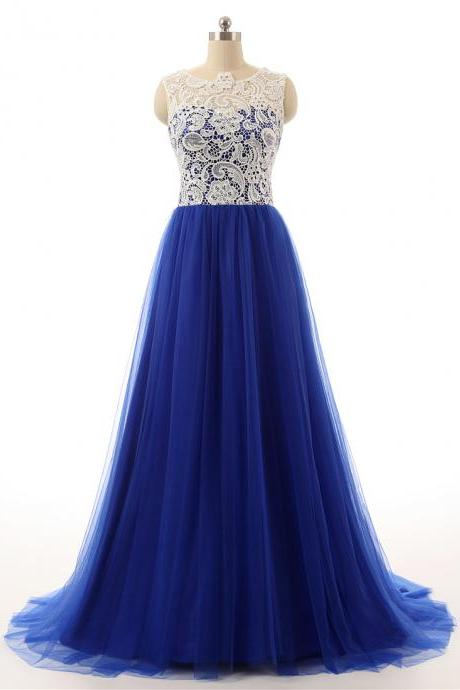 Long Tulle Prom Dresses,Royal Blue Prom Dresses, 2016 Prom Dresses, Custom Made Prom Dresses, White Lace Prom Gown, Formal Party Dresses,Women Evening Gowns