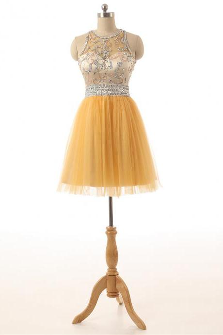 Short Yellow Tulle Prom Party Dresses,A Line Homecoming Dresses,Sequins Beading Crystals Cocktail Dresses,Custom 8th Grade Graduation Dress