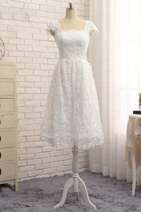 White Short Wedding Dresses,Elegant Lace Wedding Dress , Plus Size Bridal Gown ,Cap Sleeve Wedding Dress,Tea Length Bridal Dress