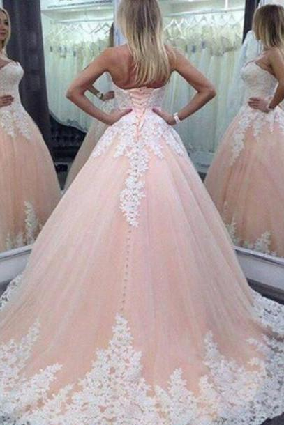 2016 Vintage Wedding Dress Ball Gown Dresses Sweetheart Lace Appliques Peach Tulle Long Bridal Wedding Gowns