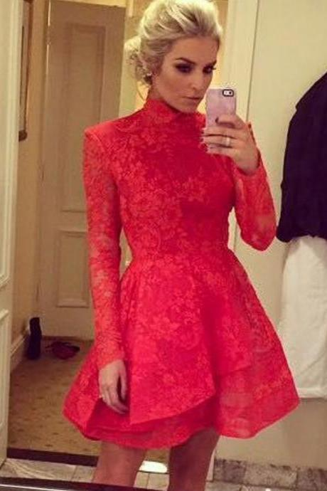 Charming Short Prom Dresses High Neck Lace Prom Dress A-line Long Sleeve Prom Dresses Custom Made Homecoming Dresses