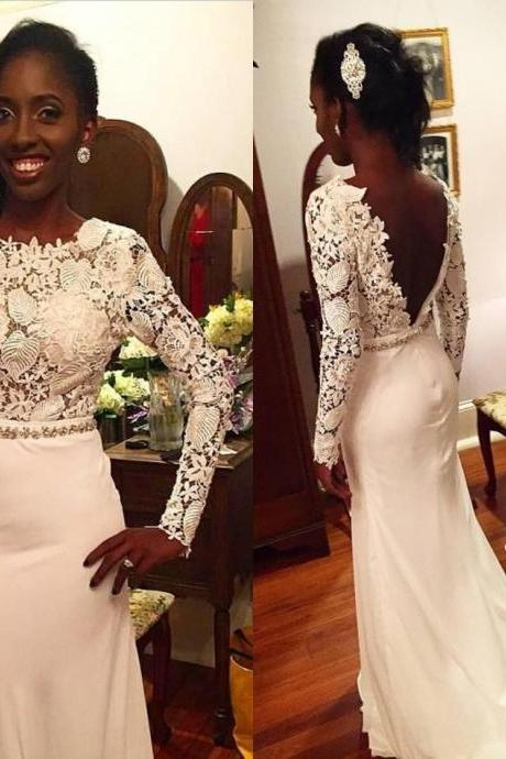 White Lace Long Sleeves Mermaid Prom Dresses Beaded Sash Chiffon Backless Formal Evening Party Pageant Gowns