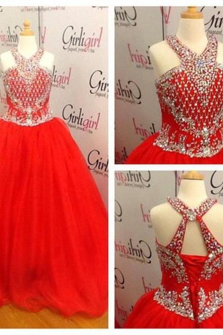 2016 Red Little Girls Pageant Dresses With Beaded Crystals Halter Floor Length Flower Girl Dresses With Corset Back