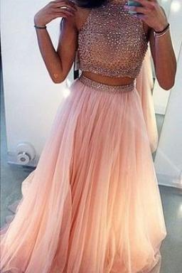 sexy prom dress two piece prom dress blush pink prom dress long prom dresses