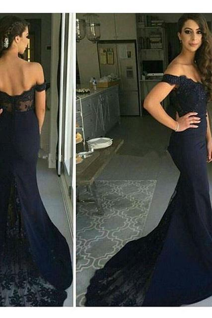 Prom Dresses,Navy Blue Mermaid Prom Dress,Long Prom Dress 2016,Navy Blue Lace Prom Dress,Custom Made Off Shoulder Prom Dress