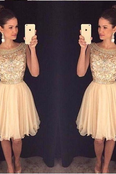 New Arrival 2017 Beaded Chiffn Short Homecoming Dresses Brilliant Sequined Sleeveless Short Rhinestone Cocktail Party Dresses