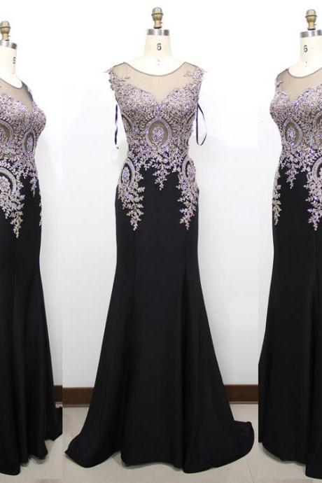 2017 Fashion Mermaid Evening Dresses with Gold Appliques Beads Black Prom Dress See Through Back Cap Sleeve Women Formal Party Dress