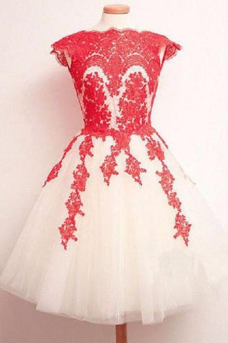 2017 Tulle Short Prom Dress With Red Lace Appliques A line Cap Sleeve Graduation Gowns Formal Party Dresses