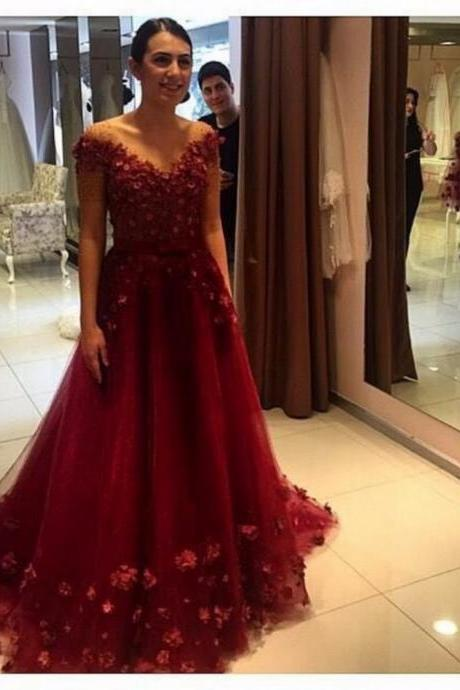 A Line Beaded Short Sleeves Long Burgundy Prom Dresses V Neck Sweep Train Formal Woman Prom Gowns with 3D Flowers