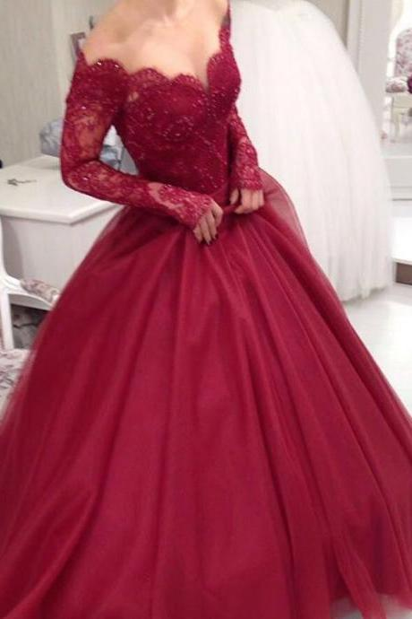 Sheer Scoop neckline Long Sleeves Burgundy Ball Gowns Wedding Dresses Custom Made Lace Appliques Sequins Beads Bridal Wedding Gowns
