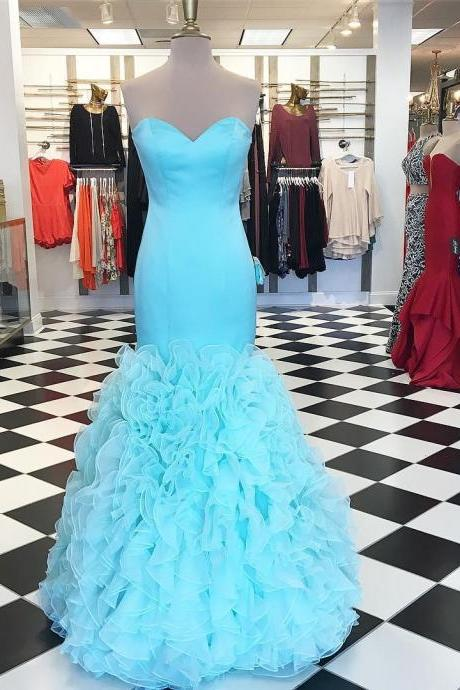 sweetheart bodice corset organza ruffles mermaid prom dresses 2017 sexy formal evening gowns sky blue pageant gowns