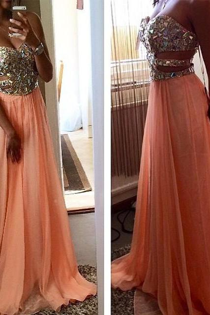 Side Cut Outs Rhinestone Beaded Sweetheart Long Chiffon Coral Prom Dress 2017 A Line Sequins Crystal Floor Length Prom Gowns