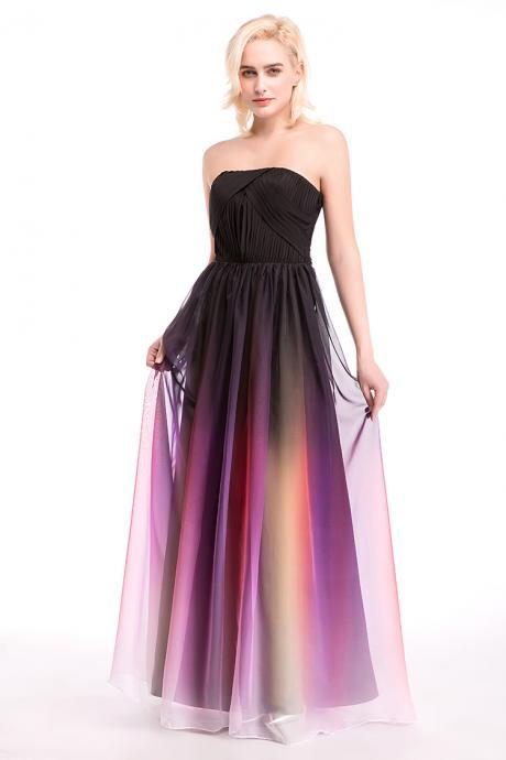 New Prom Dresses Evening Gowns A line Formal Party Dresses Gradient Color Chiffon Pleated Ombre Floor Length Prom Gowns