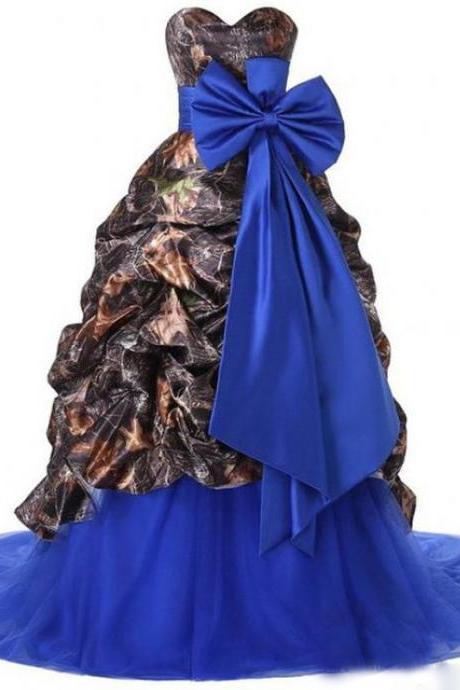 2017 Camo A Line Wedding Dress Royal Blue Tulle Skirt Sweetheart Country Style Camouflage Bridal Wedding Gowns with Bow